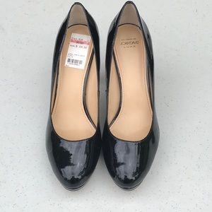 Black patent leather platform heels